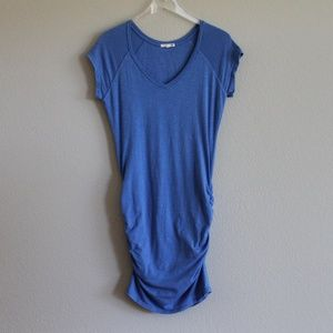 SUNDRY | Cobalt Blue Ruched V-Neck Dress 2 Medium